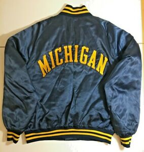 Vintage-80s-University-Michigan-Wolverines-Embroidered-Jacket-XL-Blue-Football