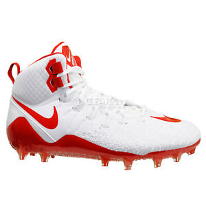 NIKE-FORCE-SAVAGE-PRO-MID-TD-Mens-Football-Cleats-White-Red-Size-10-5