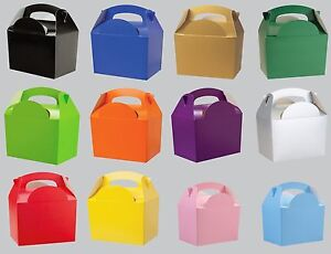 Plain-Solid-Colour-Party-FOOD-BOXES-Childrens-Kids-Birthday-Loot-Favour-Bags