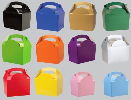 Plaine solide Couleur Parti Boîtes alimentaires-Enfants Anniversaire butin sacs faveur