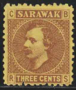 SARAWAK-1871-RAJAH-CHARLES-BROOKE-3c-MNG-AS-USUAL-BACK-STAIN-CAT-RM-10-AS-MNG
