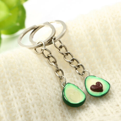 3D Printed Fruit Kery Ring Soft Pottery Avocado Heart Couples Jewelry Key Chain