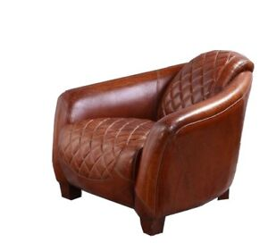 Distressed Brown Leather Tub Chair