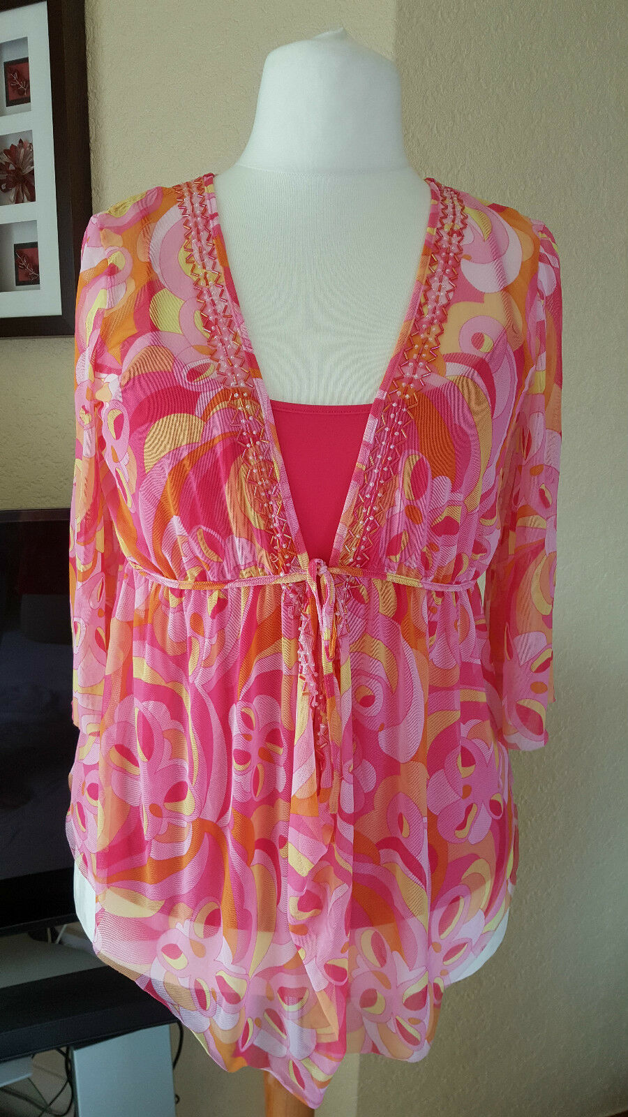 PINK MIX SWIRL BEADED TOP MESH  BEACH SUMMER NEXT 16 - HOLIDAY CRUISE
