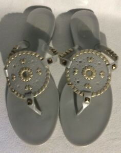 NEW-JACK-ROGERS-GEORGICA-JELLY-SANDALS-THONGS-SHOES-GRAY-SILVER-GOLD-SIZE-6-M