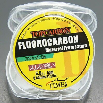 New! Fluorocarbon Fishing Line 50M 4.4LB-35.2LB Color Clear Material From Japan