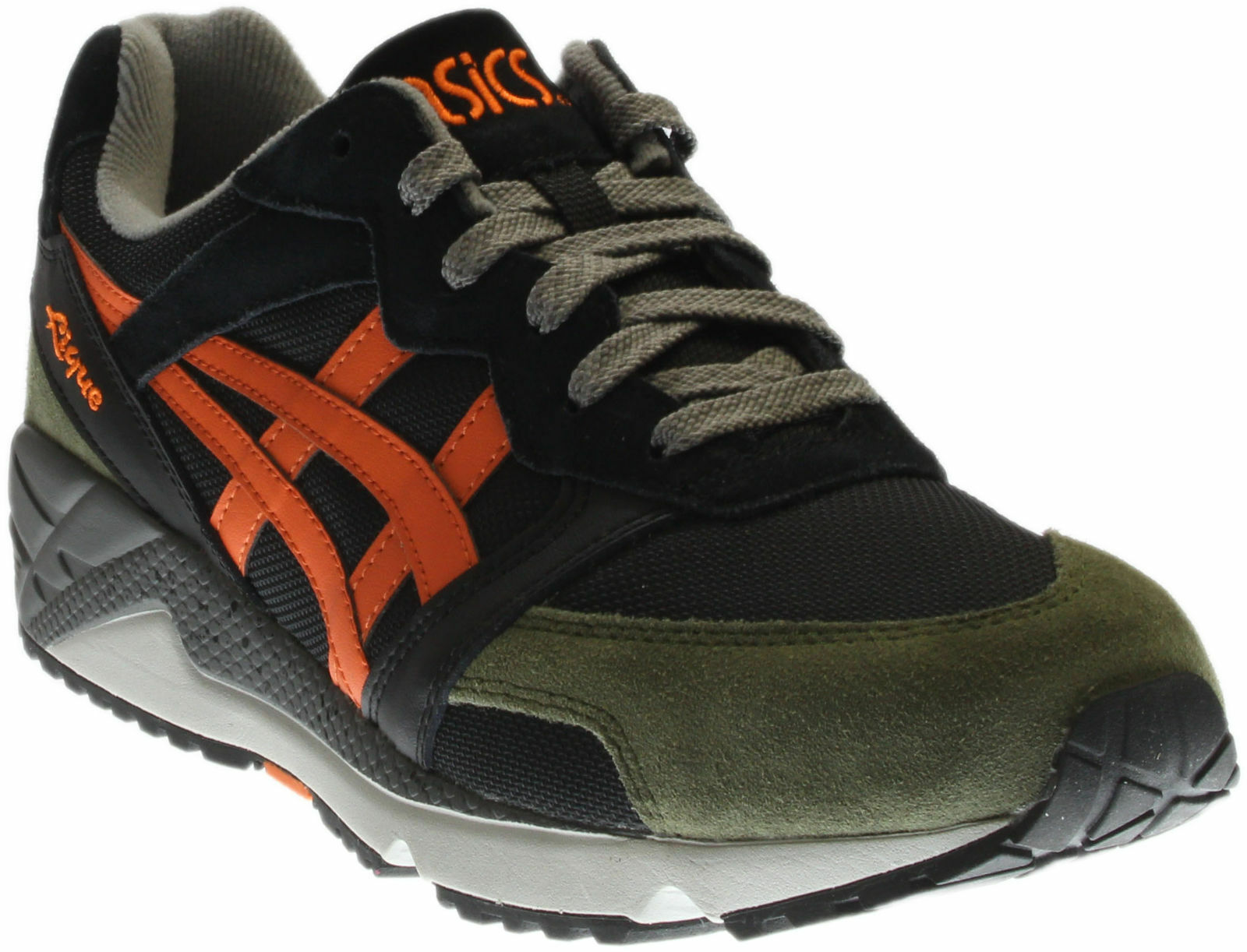 MENS ASICS TIGER GEL-LIQUE BLK ORG ARMY GREEN ATHLETIC SHOES H6H1L-9009 sneakers