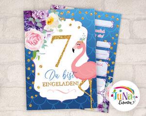 12 einladungskarten 7 kindergeburtstag flamingo einladung