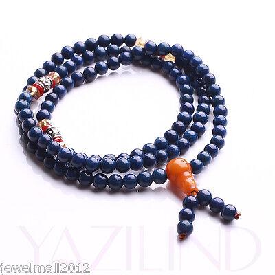 6mm 108 Blue Prayer Mala Rosary Bead Buddhist Strand Necklace Bracelet