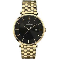 Accurist 7090 Mens Gold Plated Black Dial Date Dress Watch RRP £90