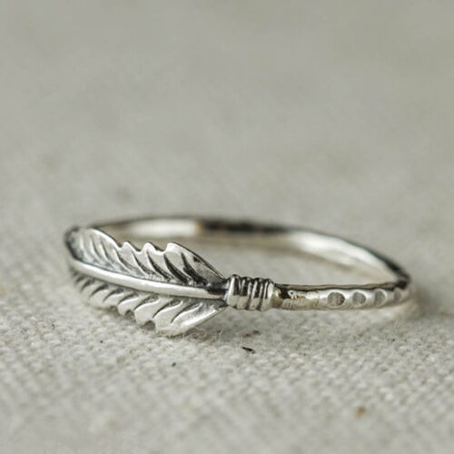 Creative Retro Feather Ring Stacking Rings Wedding Bride Jewelry Gifts CB