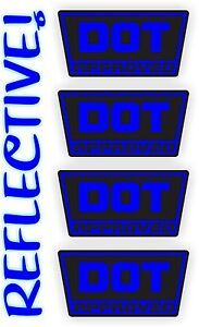 REFLECTIVE DOT Approved Motorcycle Helmet StickersHard Hat Decals Labels USA