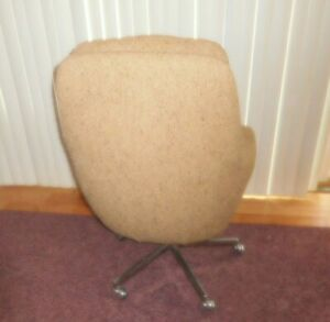 Vintage-Mid-Century-Egg-Shape-Style-Swivel-Fabric-Modern-Chair