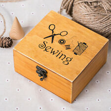 Healifty Wooden Sewing Basket Vintage Sewing Box with Sewing kit Accessories for mon Grandma Girl Women Household
