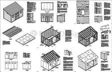 10' x 16' Outdoor Structure Building / Storage Shed Plans, Lean To #D1016L