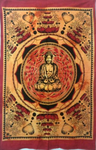 Red Color Lotus Buddha Wall Hanging Hippie Cotton Small Tapestry Poster Fabric