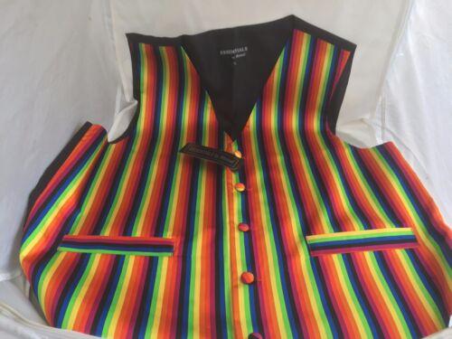 "Multi-Rainbow Mens Silk Waistcoat 2XL /< To fit />/>/> 44/"" Chest /> P/&P 2UK/>1st Class"