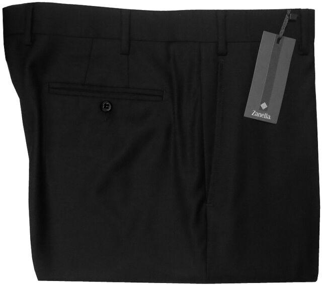 $395 NEW ZANELLA TODD BLACK SUPER 120'S WOOL FLAT FRONT DRESS PANTS 33