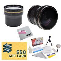 3.7x Telephoto & 0.20x Fisheye Lens Bundle For Canon Xa20, Xa25 Tl-h58 Wa-h58
