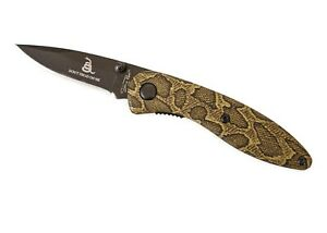 Small snake skin pattern NRA knife don't tread on me