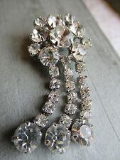 Gorgeous vintage 1950's Cut glass tassel cluster brooch.