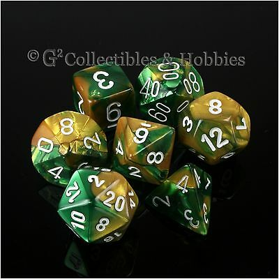 NEW 7pc Set Gold Green Gemini RPG Gaming Dice D&D Game Chessex 7 piece