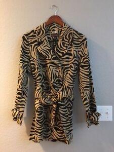 Dana Buchman Animal Zebra Print Trench Coat Jacket Black