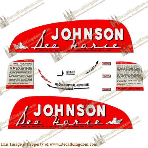 1949-1950 Johnson Sea Horse Outboard Engine Decal (Multiple HP) 3M Marine Grade