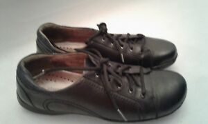 Clarks-Unstructured-Black-Leather-9-M-Laces-Casual-Walking-Shoes-Womens