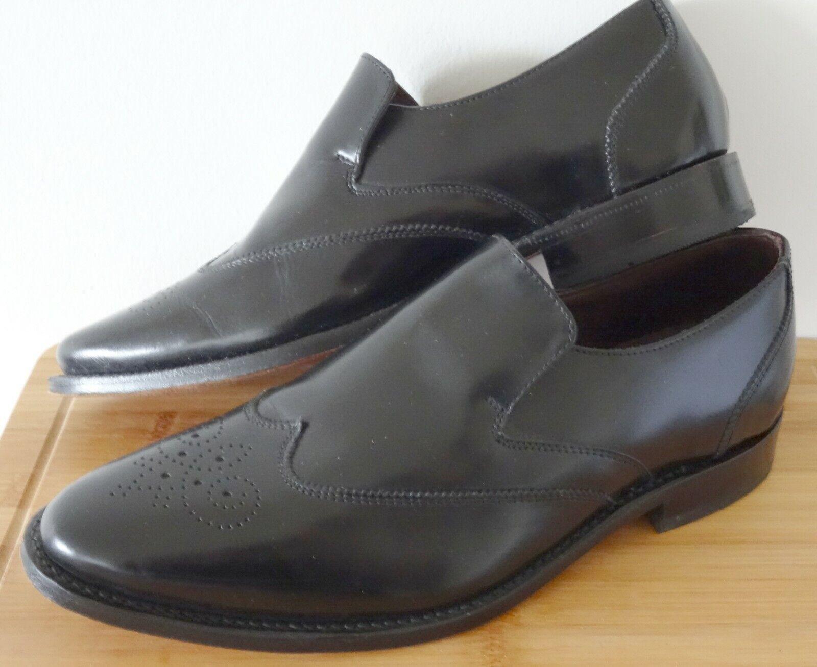 Samuel Windsor Hand-Made Black All Leather Slip-On Shoes UK Size 8.5