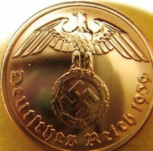 Nazi-Deutschland 2 Reichspfennig 1939 Original Münze Drittes Reich Adler Hakenkreuz selten