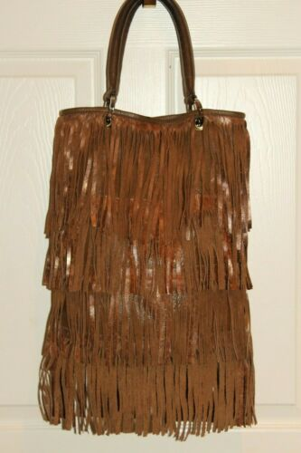 Boho Chic POSSE Metallic Taupe Brown Leather Fring