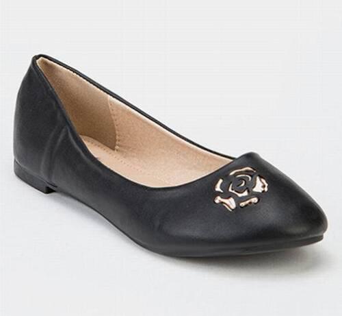 Shumaxx  Black Gold Rose Front Flats SHOES UK Size 5  EU 38 black