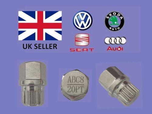 Audi Vw Seat Skoda Locking Wheel Nut Key  ABC 8 Type 20 Splines