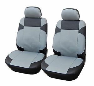 2 Car Seat Covers PU Leather Compatible To Nissan 853 Gray