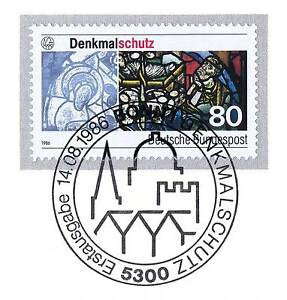 BRD-1986-Denkmalschutz-Nummer-1291-mit-dem-Bonner-Ersttags-Sonderstempel-1A
