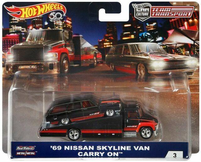 HOT WHEELS CAR CULTURE TEAM TRANSPORT 69 NISSAN SKYLINE VAN CARRY ON REAL RIDERS