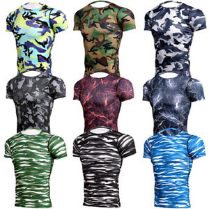 Men-039-s-Compression-Tops-Workout-Running-Gym-T-shirts-Sports-Camo-Print-Cool-Dry