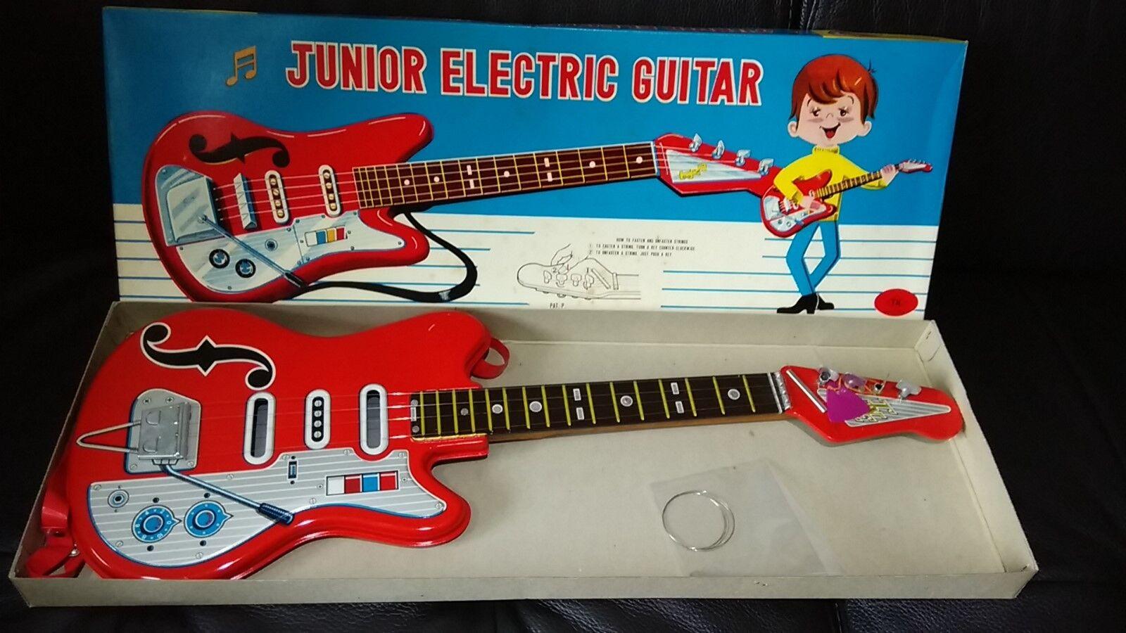 Raro 60s Japón blechtin Tn Nomura JUNIOR Guitarra Eléctrica nuevo viejo Stock menta en caja como nuevo