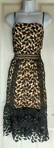 Womens Boohoo Dress NEW size 14 black lacey fit&flare skater party occasion midi
