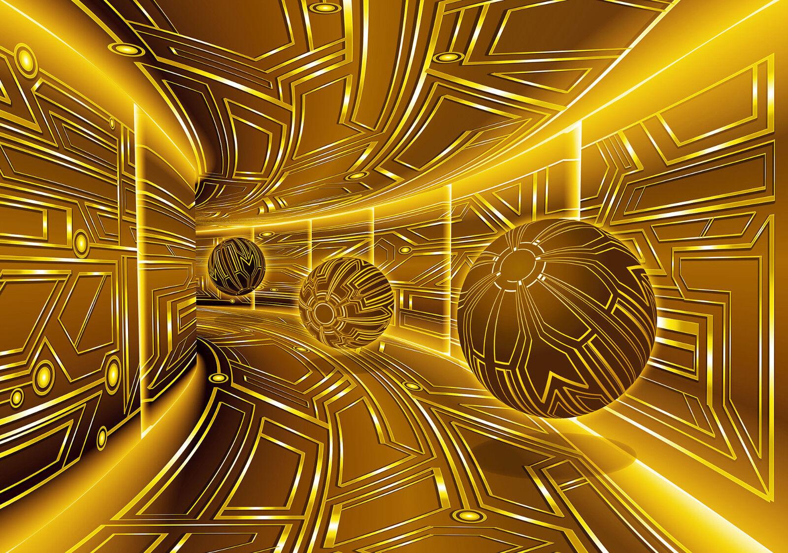 VLIES Fototapete-3D MUSTER-(10081)-Design Abstrakt Tunnel Optik Kugeln Deco xxl