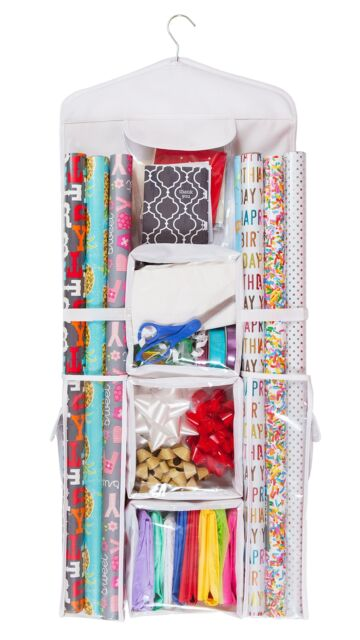 Double Sided Hanging Gift Wrap  Bag Organizer Storage