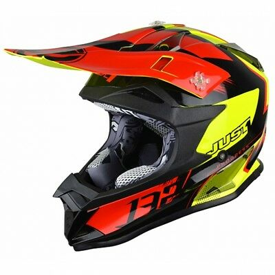 Casco Moto Cross Just1 J 32 Pro Kick Black-red -yellow 2018 Taglia Xl