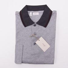 NWT $500 BRIONI Gray Longsleeve Pique Cotton Polo Shirt S Contrast Collar