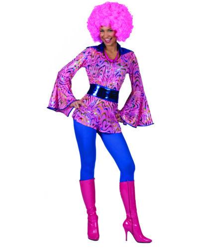 70/'s Disco Top Ladies Pink Metallic Swirl Print Zip Front Bell Sleeve Belted Top