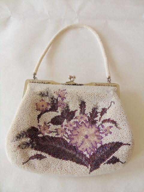 Kimono Pochette Sac à Main Authentic Japanese Vintage, Blanc Perles Fleur