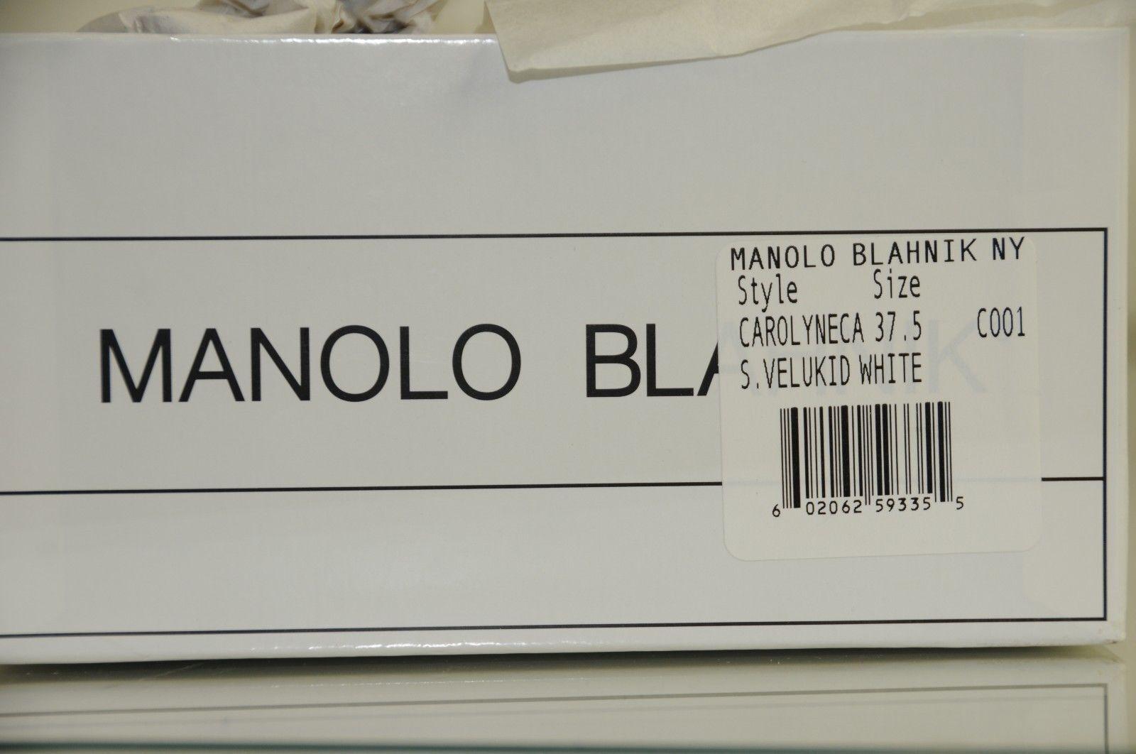 1045 New MANOLO MANOLO MANOLO BLAHNIK Carolyne Crystals Jeweled Cap White BB SHOES Wedding 37 a20ec8