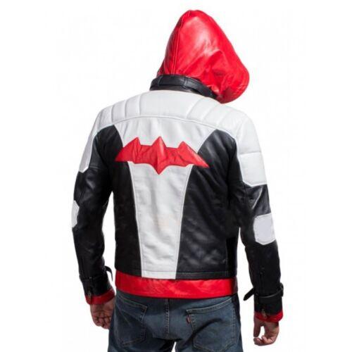 BATMAN Arkham Knight gioco Cappuccio Rosso in Pelle Giacca e Gilet Costume-Nuova con etichetta
