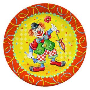 500 Assiettes Ronde ø 23 Cm Clown Fête Jetable Assiette-afficher Le Titre D'origine