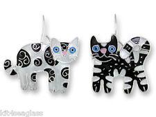 Zarah Zarlite Feline Friends CAT EARRINGS Sterling Silver Plate Enamel - Boxed